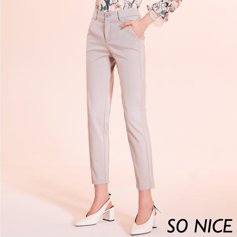 SO NICE時尚俐落修身錦棉褲