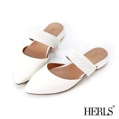 HERLS穆勒鞋 編織橫帶鏤空尖頭低跟穆勒鞋拖鞋 白色