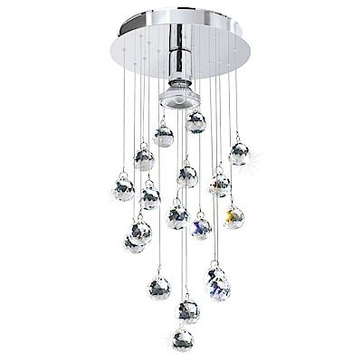 EGLO歐風燈飾 現代銀水晶圓珠美型吊燈