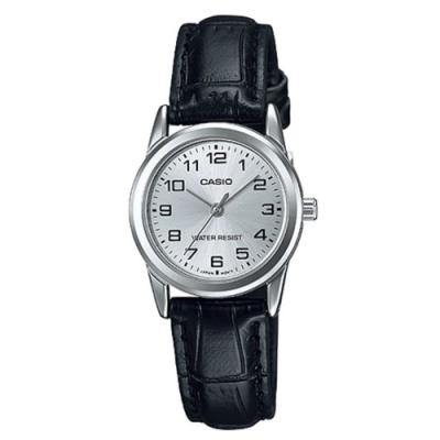 CASIO 復古時尚簡約巧小指針皮帶腕錶-白面X黑(LTP-V001L-7B)/25mm