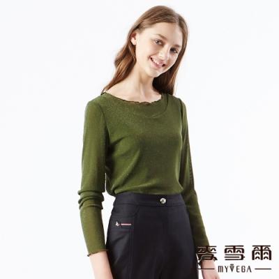 【麥雪爾】閃亮波浪領雙層網狀上衣-墨綠
