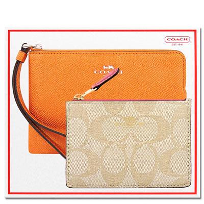 COACH 橙黃色光澤皮革手拿包+COACH 蜜桃粉色大C PVC鑰匙零錢包