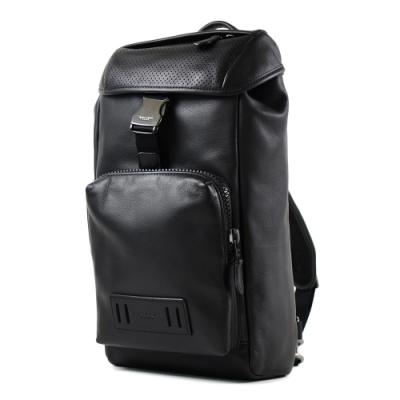 COACH 男款 小牛皮釦式單肩胸包-黑色/大