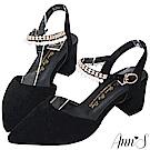 Ann'S浪漫天使-珍珠排鑽繫帶顯瘦V口粗跟尖頭鞋-黑