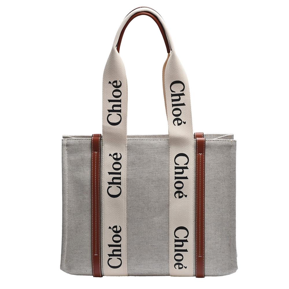 CHLOE 經典WOODY系列帆布手提/肩背包(中-棕色)
