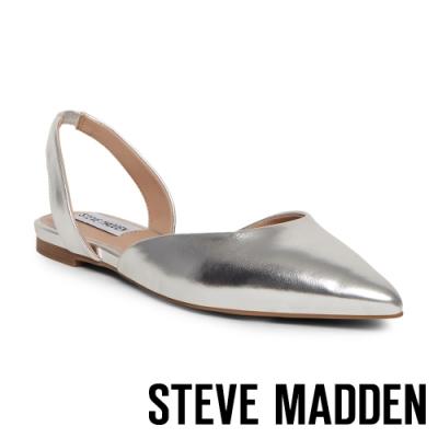 STEVE MADDEN-FREY 簡約低調 後跟帶包趾平底涼鞋-銀色