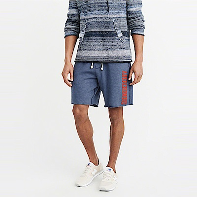 麋鹿 AF A&F 經典標誌運動休閒短棉褲-藍灰色