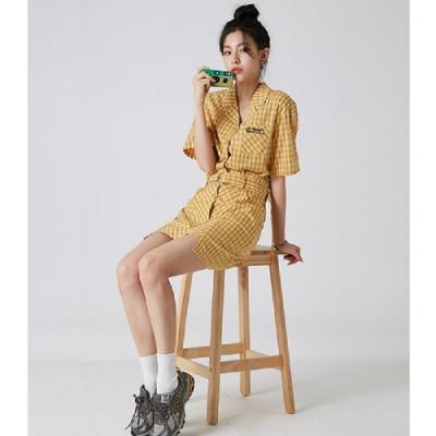 套裝 刺繡格紋襯衫短裙套裝RE7384-創翊韓都
