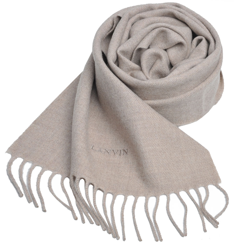 LANVIN 義大利製品牌字母LOGO刺 繡高質感羊毛圍巾(卡其色)