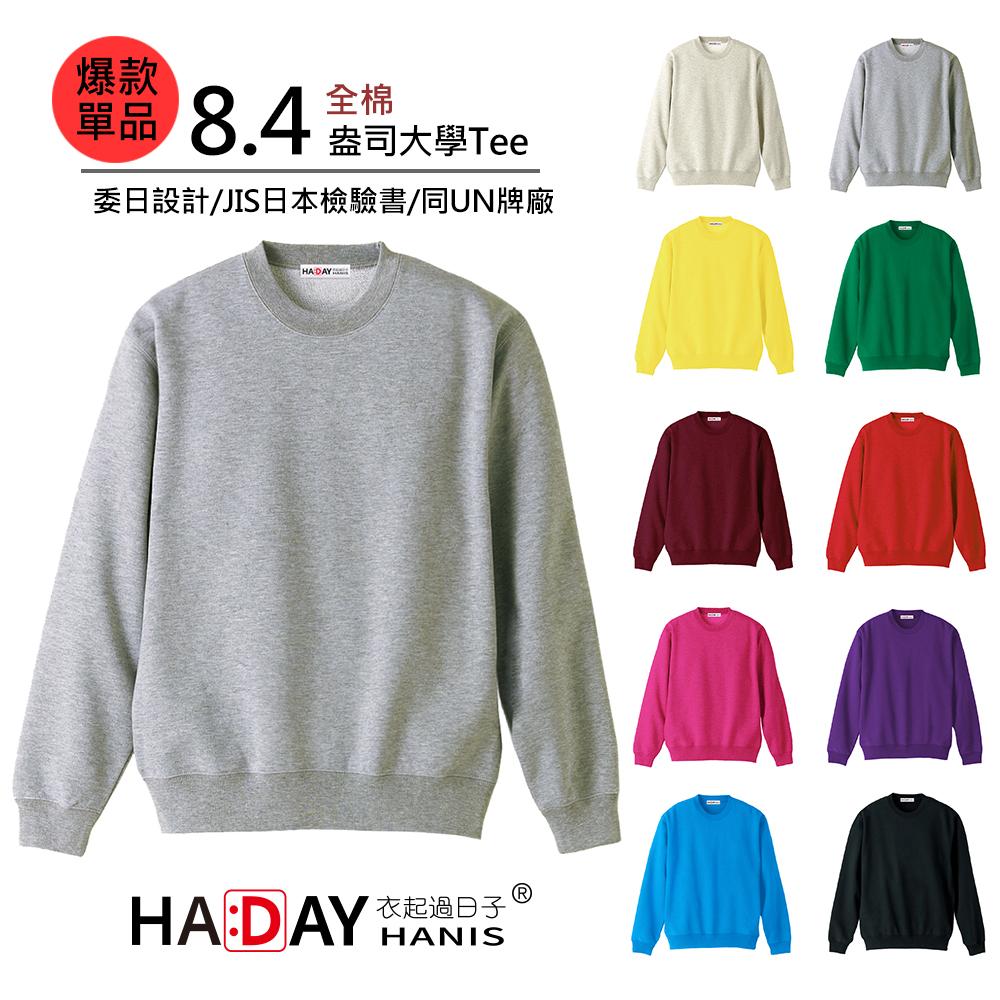 HADAY 重量級8.4盎司 全棉圓領大學T 委託日本設計 毛巾底布 灰色