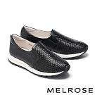 休閒鞋 MELROSE 率性潮感編織造型全真皮厚底休閒鞋-黑