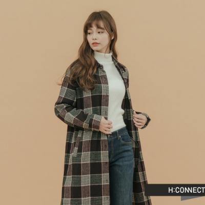 H:CONNECT 韓國品牌 女裝-毛呢格紋襯衫洋裝-紅