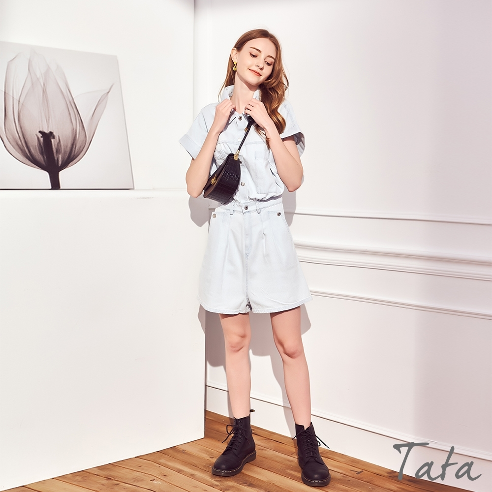 捲邊袖牛仔連身褲 TATA-(S~L)