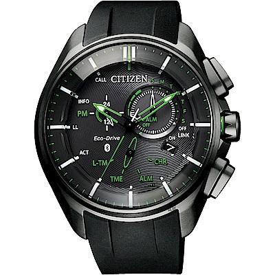 CITIZEN 星辰 限量鈦光動能藍芽手錶( BZ1045-05E)-綠指針x黑/48mm