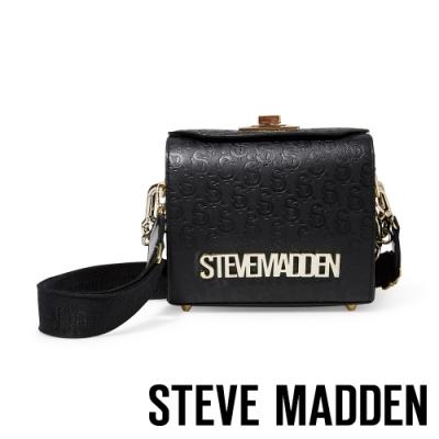 STEVE MADDEN-BBREW 金屬感LOGO壓紋手提斜背兩用包-黑色