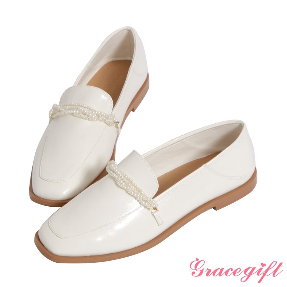 Grace gift-珍珠飾鍊2way平底樂福鞋 白