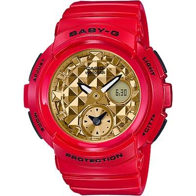 BABY-G 具立體鉚釘錶盤設計限定紅色女錶(BGA-195VLA-4A)/44mm
