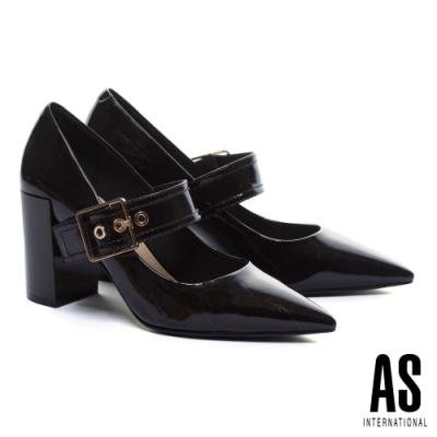 高跟鞋 AS 復古時髦爆裂紋軟牛漆皮繫帶尖頭粗高跟鞋-咖