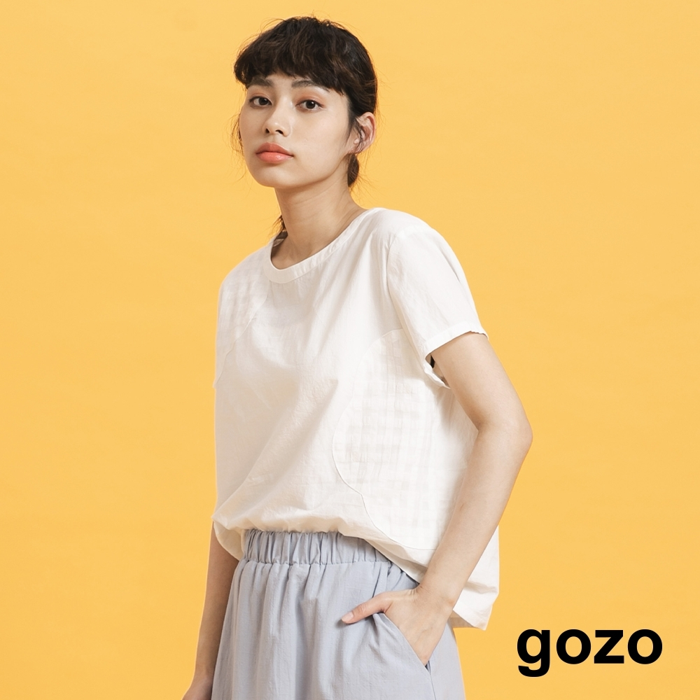 gozo-不規則半鏤空上衣-(兩色)
