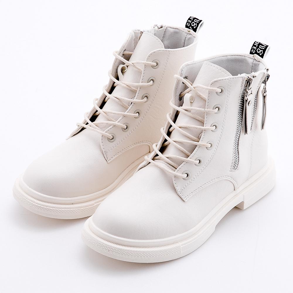 River&Moon復古繫帶造型雙拉鍊馬汀短靴 米白