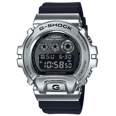 G-SHOCK 個性金屬三重指示器休閒錶-黑X銀(GM-6900-1DR)/48.7mm