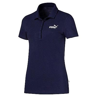 PUMA-女性基本系列素色短袖POLO衫-重深藍-亞規