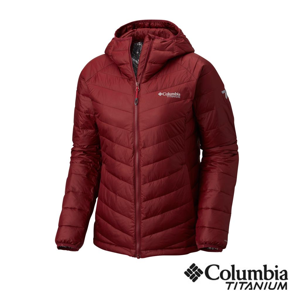 Columbia哥倫比亞 女款-鈦Omni-HEAT 3D鋁點保暖連帽外套-暗紅