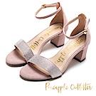 Pineapple Outfitter 注目焦點 復古水鑽一字粗跟涼鞋-絨粉
