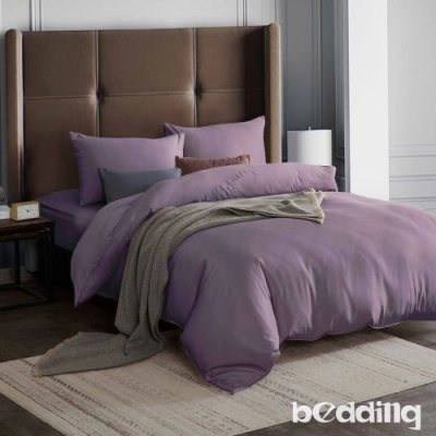 BEDDING-3M專利+頂級天絲-素色系列-加大雙人薄床包+雙人兩用被套四件組-薇紫