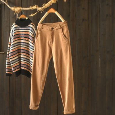 寬鬆加絨褲子工裝腰長褲顯瘦哈倫褲-設計所在