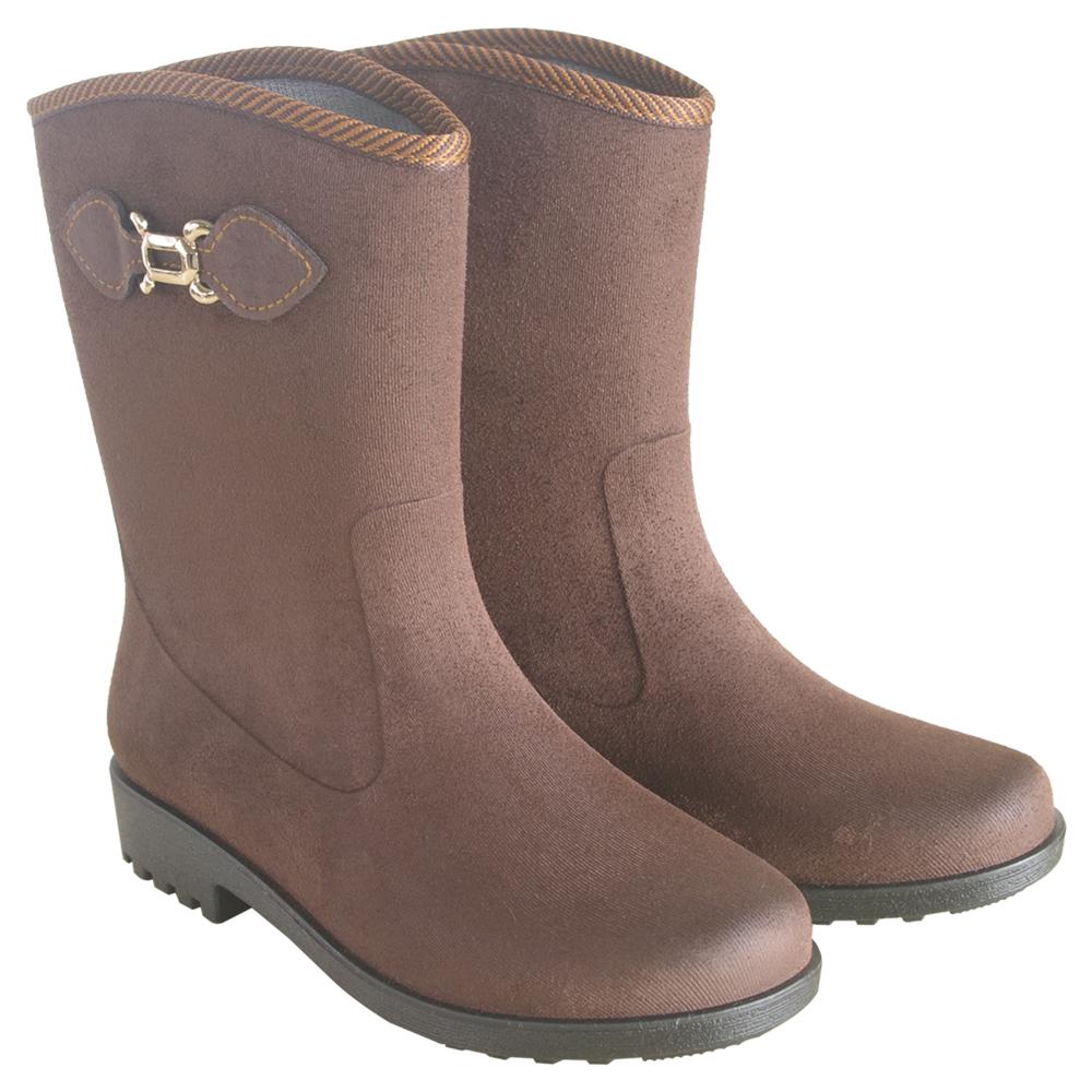 MIT台日專利仿麂皮絨面中筒雨靴(咖啡)J-258
