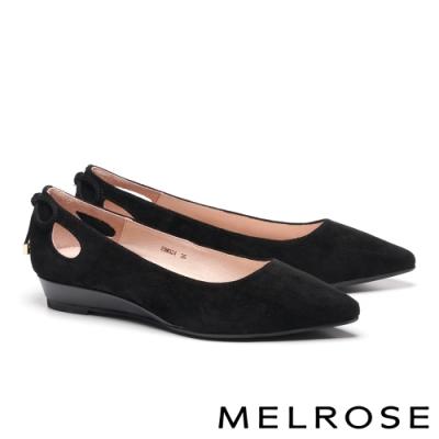 低跟鞋 MELROSE 知性典雅鏤空綁帶羊麂皮尖頭楔型低跟鞋-黑