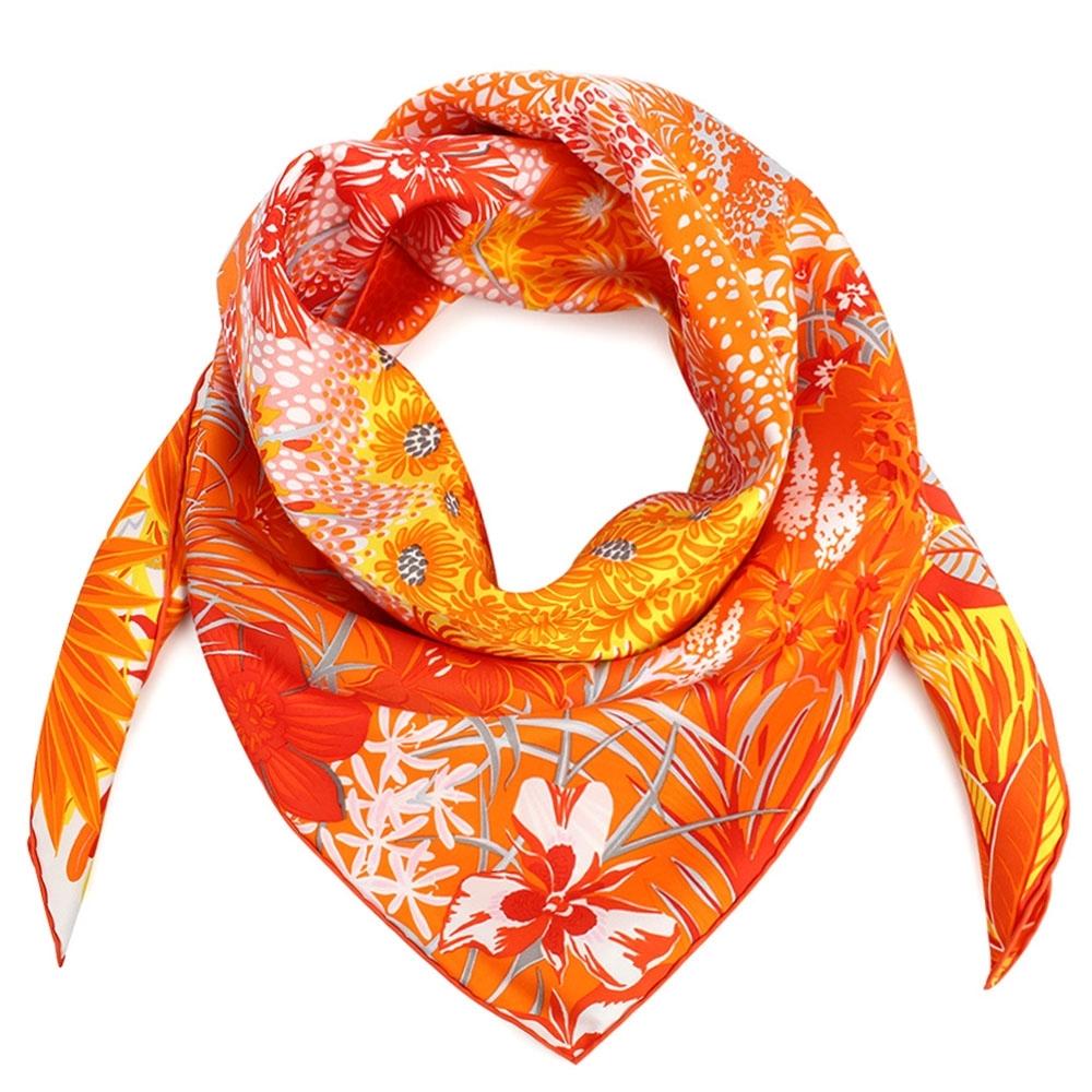 HERMES Mountain Zebra叢林斑馬方型絲巾-橘色
