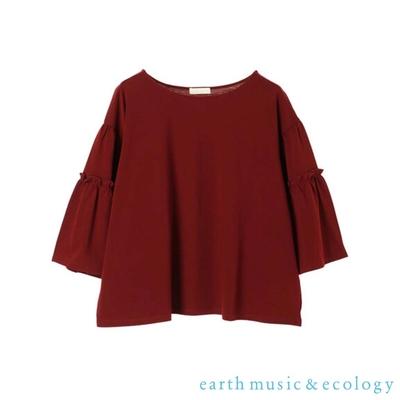 earth music 層次喇叭寬袖素面上衣