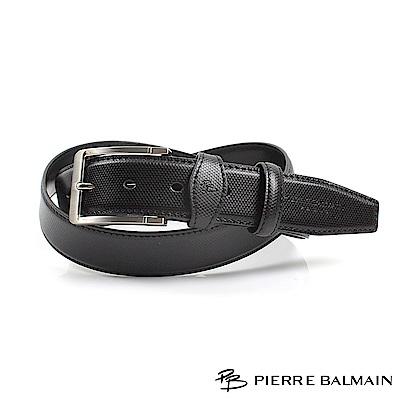 【PB皮爾帕門】方框六角紋二層牛皮休閒針扣皮帶(885)