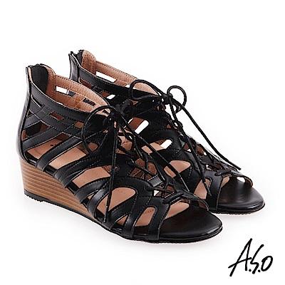 A.S.O 希臘渡假 全真皮羅馬楔型涼拖鞋黑色