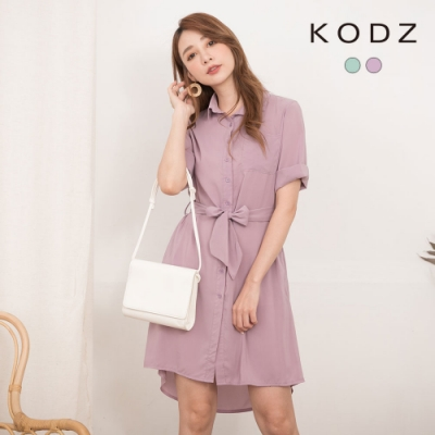 東京著衣-KODZ 甜美歐膩排釦附綁帶雪紡洋裝-S.M.L(共二色)