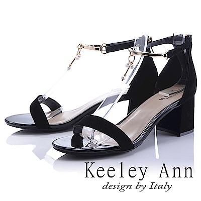 Keeley Ann 宴會名媛~優雅垂墜珍珠飾釦真皮中跟涼鞋(黑色-Ann)