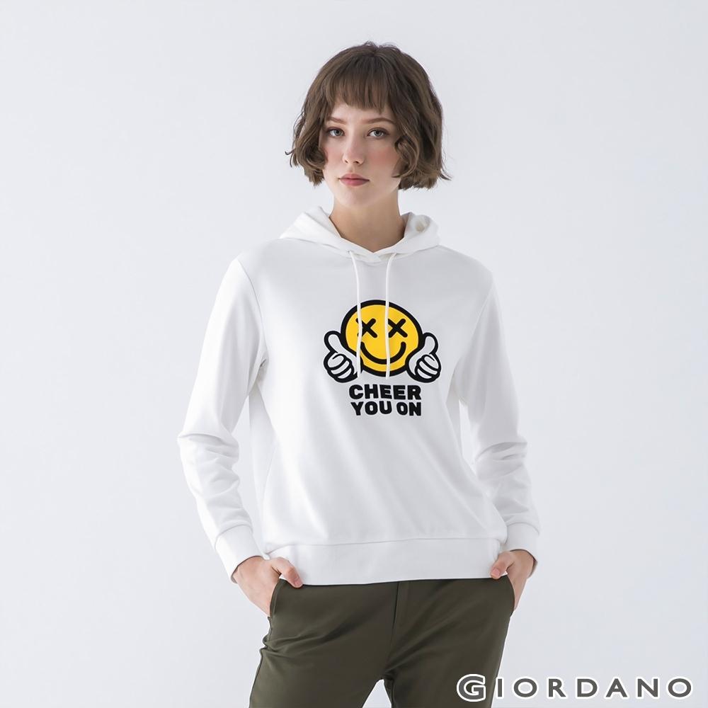 GIORDANO  女裝CHEER YOU ON連帽T恤 - 01 皎白