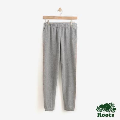 ROOTS 女裝- 金棕LOGO邊條休閒棉褲-灰色
