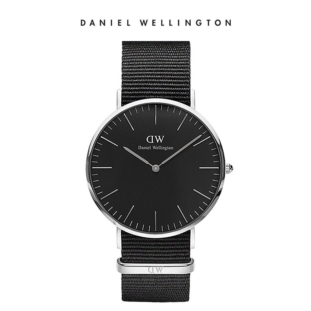 DW 手錶 官方旗艦店 40mm銀框 Classic Black 寂靜黑織紋錶