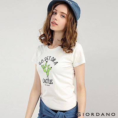 GIORDANO 女裝可愛植物印花短袖T恤-51 皎雪