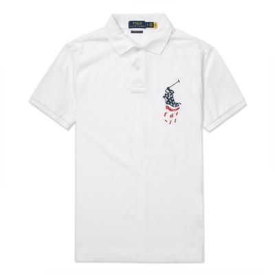 Polo Ralph Lauren 經典刺繡美國旗大馬短袖Polo衫(CUSTOM SLIM FIT)-白色