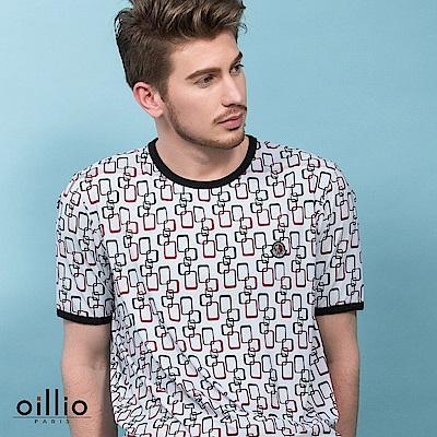 歐洲貴族oillio 短袖T恤 涼感布料 滿版矩形 白色