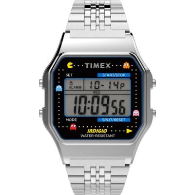 TIMEX 天美時 Pac-Man 小精靈電子錶- 銀/34mm