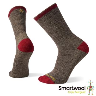 SmartWool 輕量減震徒步印花中長襪-Hiker Street 棕色
