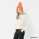 Hang Ten -女裝-純色字母印花千鳥紋連帽上衣-白