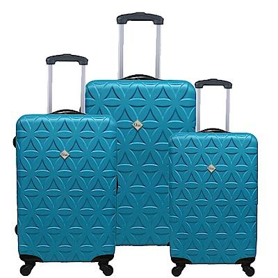 Gate9花花系列/三件組28吋+24吋+20吋/ABS霧面輕硬殼旅行箱/行李箱-土耳其藍