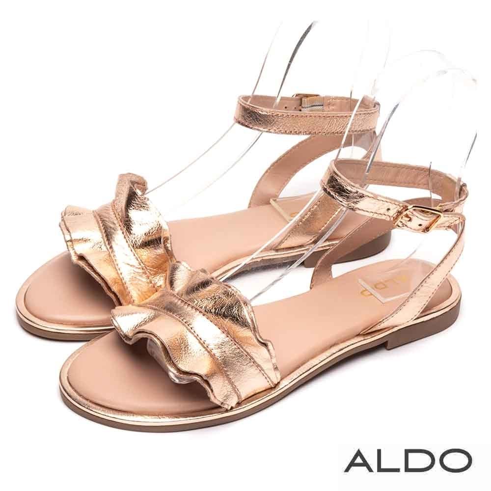 ALDO 原色真皮荷葉金屬釦帶繫踝涼鞋~名媛金色