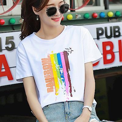 初色  純色顏料印花短袖T恤-白色-(M-2XL可選)